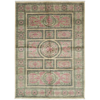One-of-a-Kind Eclectic Hand-Knotted Green / Pink Area Rug
