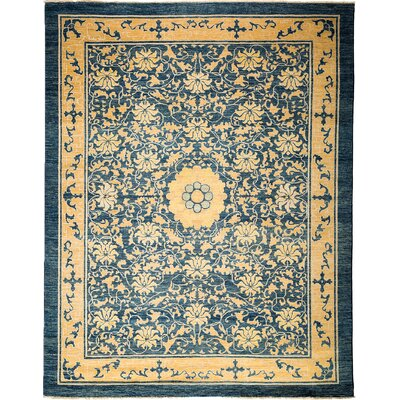One-of-a-Kind Arts and Crafts Hand-Knotted Blue / Yellow Area Rug