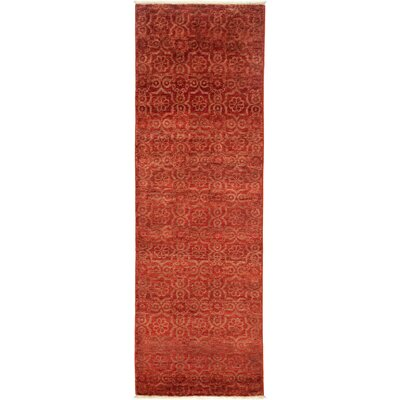 Eclectic Hand-Knotted Red Area Rug