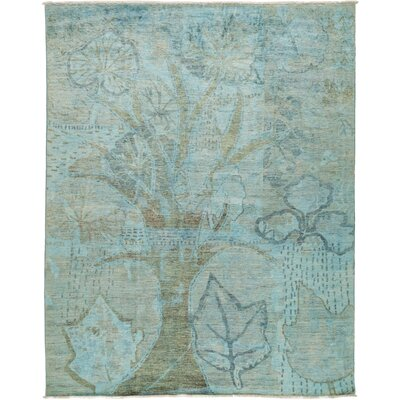 One-of-a-Kind Vibrance Hand-Knotted Light Blue Area Rug