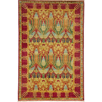 One-of-a-Kind Arts and Crafts Hand-Knotted Red / Yellow Area Rug