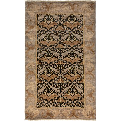 One-of-a-Kind Arts and Crafts Hand-Knotted Black/Brown Area Rug