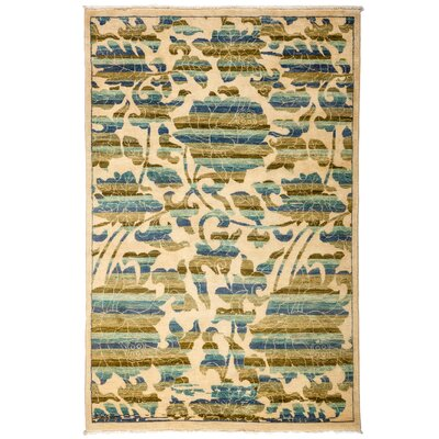 One-of-a-Kind Arts and Crafts Hand-Knotted Beige / Blue Area Rug