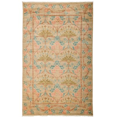 One-of-a-Kind Arts and Crafts Hand-Knotted Beige / Pink Area Rug