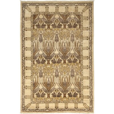 One-of-a-Kind Arts and Crafts Hand-Knotted Ivory / Brown Area Rug