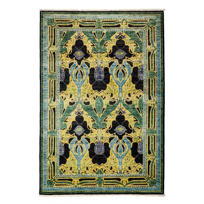 One-of-a-Kind Arts and Crafts Hand-Knotted Yellow/Green Area Rug