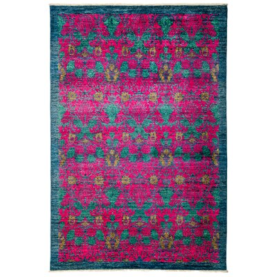 Arts and Crafts Hand-Knotted Pink / Blue Area Rug