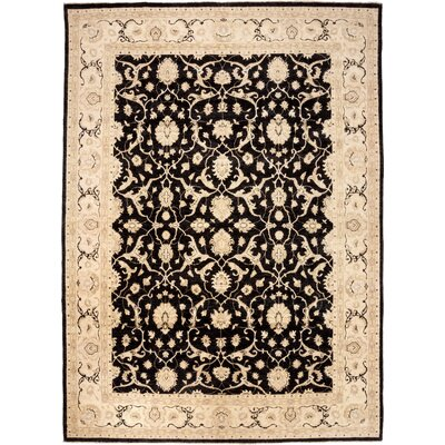 One-of-a-Kind Oushak Hand-Knotted Black / Ivory Area Rug