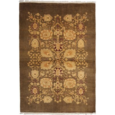 One-of-a-Kind Ottoman Hand-Knotted Brown Area Rug