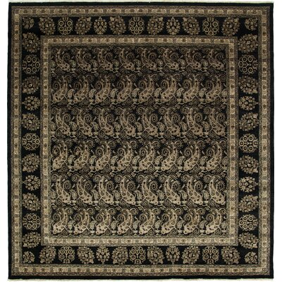 One-of-a-Kind Ottoman Hand-Knotted Black Area Rug