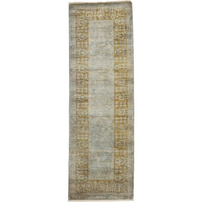 One-of-a-Kind Vibrance Hand-Knotted Green / Gray Area Rug