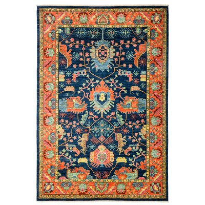 One-of-a-Kind Ziegler Hand-Knotted Blue/Orange Area Rug