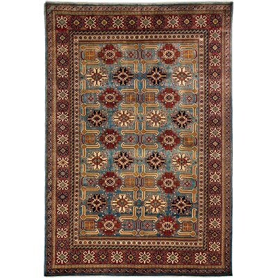 One-of-a-Kind Shirvan Hand-Knotted Light Blue / Red Area Rug