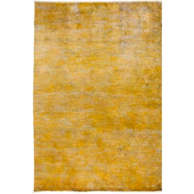One-of-a-Kind Vibrance Hand-Knotted Yellow Area Rug