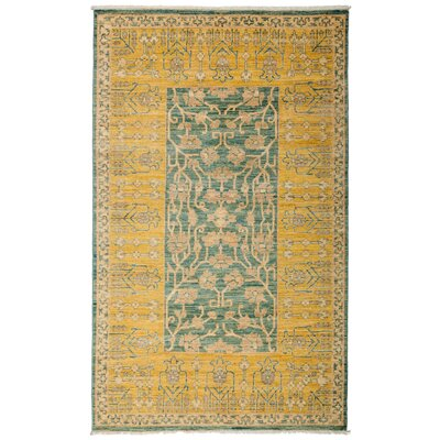 One-of-a-Kind Ziegler Hand-Knotted Yellow / Blue Area Rug