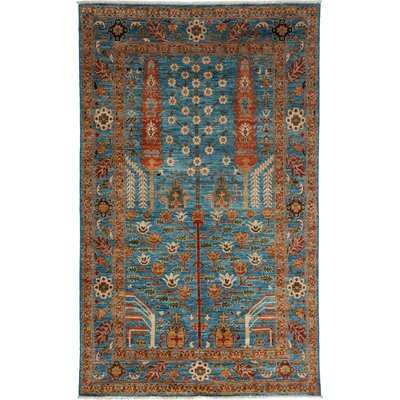 One-of-a-Kind Ziegler Hand-Knotted Light Blue / Brown Area Rug
