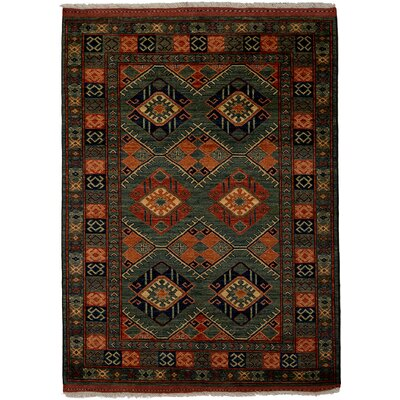 Ziegler Hand-Knotted Green / Orange Area Rug