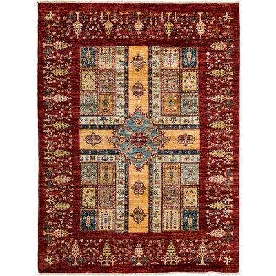 One-of-a-Kind Ziegler Hand-Knotted Red / Yellow Area Rug