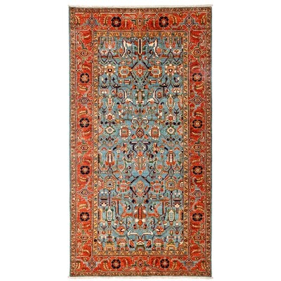 One-of-a-Kind Ziegler Hand-Knotted Blue / Red Area Rug