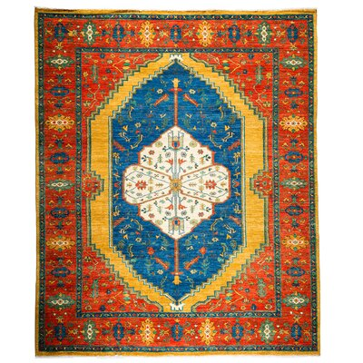 Ziegler Hand-Knotted Blue/Red Area Rug