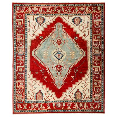 Ziegler Hand-Knotted Beige/Red Area Rug