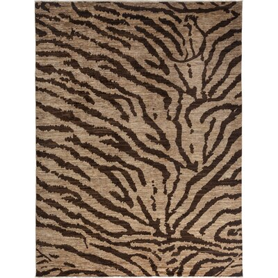 One-of-a-Kind Ziegler Hand-Knotted Beige/Balck Area Rug