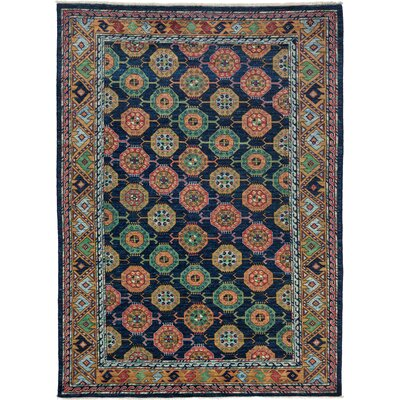 Ziegler Hand-Knotted Navy / Yellow Area Rug
