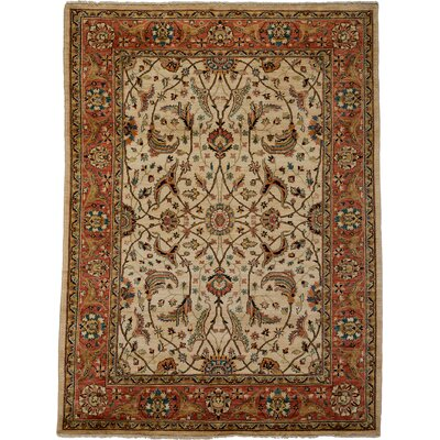 One-of-a-Kind Ziegler Hand-Knotted Ivory / Orange Area Rug