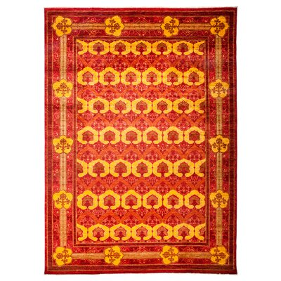 Arts and Crafts Hand-Knotted Red / Yellow Area Rug