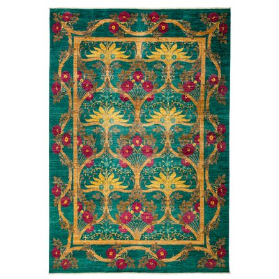 Arts and Crafts Hand-Knotted Green / Yellow Area Rug