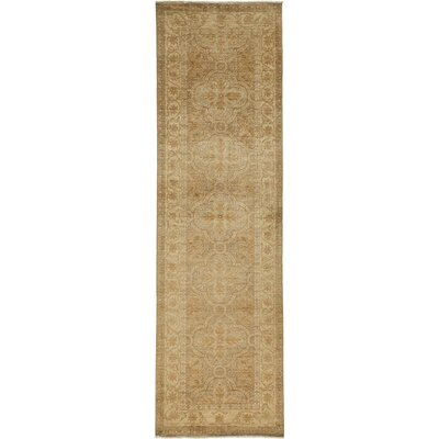 Oushak Hand-Knotted Brown Area Rug Rug Size: Runner 32 x 106