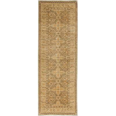 One-of-a-Kind Oushak Hand-Knotted Brown Area Rug Rug Size: Runner 33 x 103