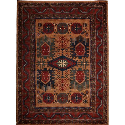 One-of-a-Kind Khyber Hand-Knotted Rust Area Rug Rug Size: Rectangle 74 x 101