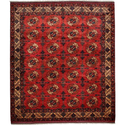 Khyber Hand-Knotted Red Area Rug Rug Size: 85 x 97