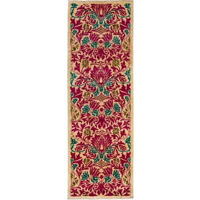 Arts and Crafts Hand-Knotted Ivory Area Rug Rug Size: Runner 27 x 910