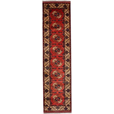 One-of-a-Kind Khyber Hand-Knotted Red Area Rug Rug Size: Runner 28 x 107