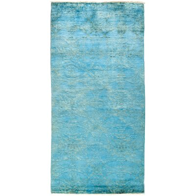 One-of-a-Kind Vibrance Hand-Knotted Blue Area Rug Rug Size: Rectangle 4 x 84
