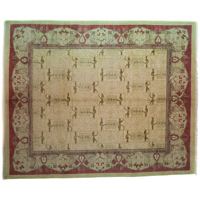 One-of-a-Kind Arts and Crafts Hand-Knotted Beige Area Rug