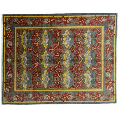 One-of-a-Kind Arts and Crafts Hand-Knotted Red/Yellow Area Rug