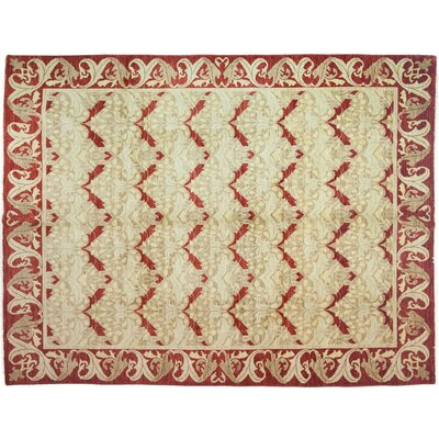 One-of-a-Kind Arts and Crafts Hand-Knotted Beige/Red Area Rug