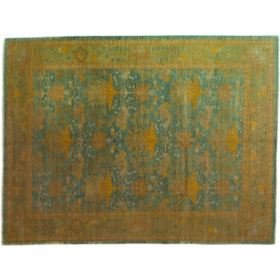 One-of-a-Kind Arts and Crafts Hand-Knotted Blue Area Rug