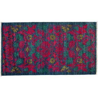 Arts and Crafts Hand-Knotted Pink Area Rug