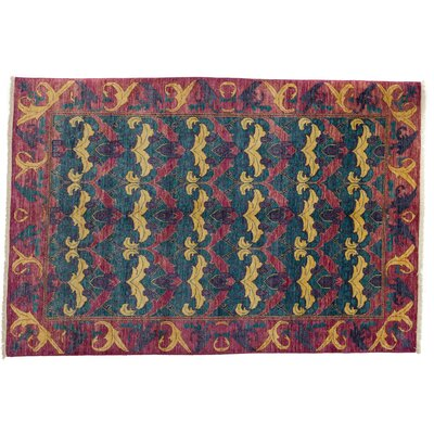 One-of-a-Kind Arts and Crafts Hand-Knotted Red/Green Area Rug