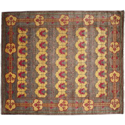 Arts and Crafts Hand-Knotted Purple/Yellow Area Rug