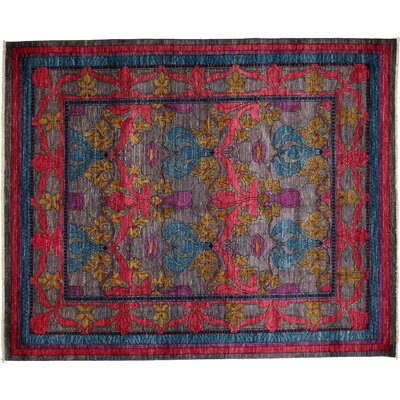 Arts and Crafts Hand-Knotted Pink/Blue Area Rug