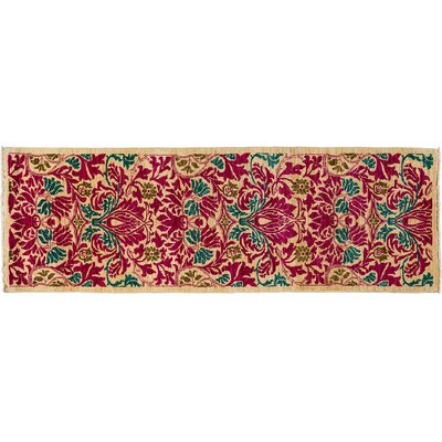 Arts and Crafts Hand-Knotted Pink Area Rug Rug Size: Runner 28 x 81