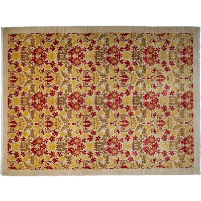 One-of-a-Kind Arts and Crafts Hand-Knotted Yellow/Red Area Rug