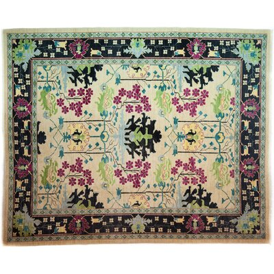 Arts and Crafts Hand-Knotted Cream/Black Area Rug