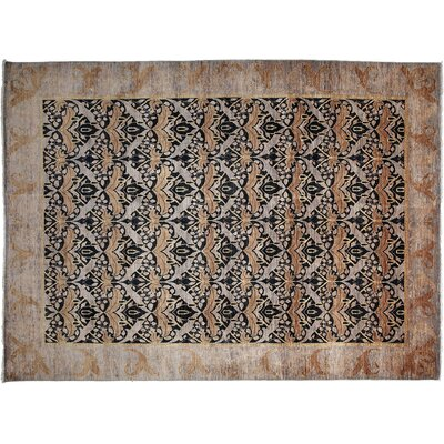 Arts and Crafts Hand-Knotted Purple/Black Area Rug