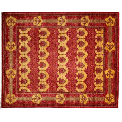 One-of-a-Kind Arts and Crafts Hand-Knotted Red Area Rug